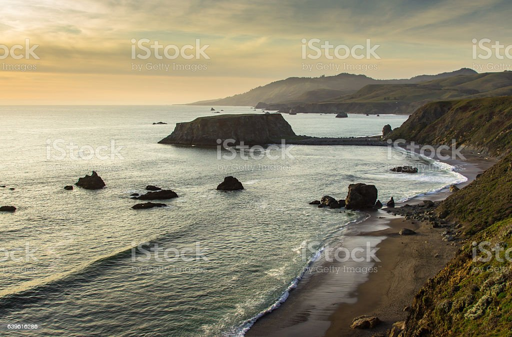 Sunset at Blind Beach, Northern California stock photo