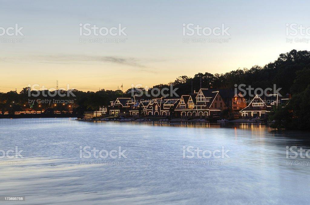 Sunset at boathouse row in Philadelphia stock photo