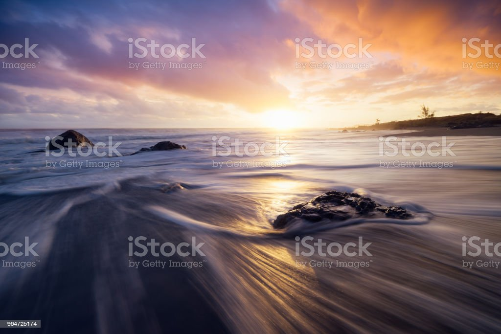 Sunset at Bois Blanc beach in Etang Sale, Reunion Island royalty-free stock photo