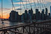 Sunset at Brooklyn Bridge, NYC, USA