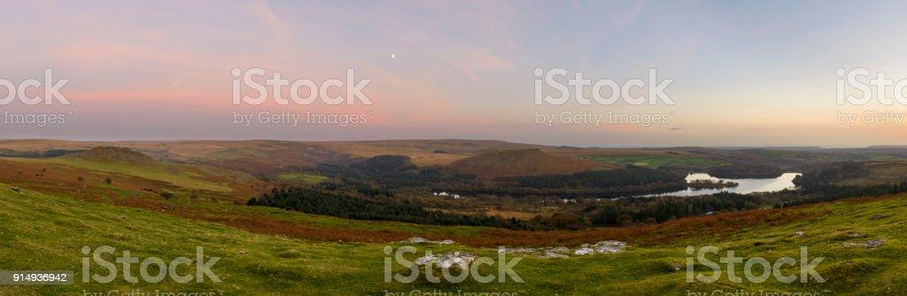 Sunset at Burrator reservoir Dartmoor,UK stock photo