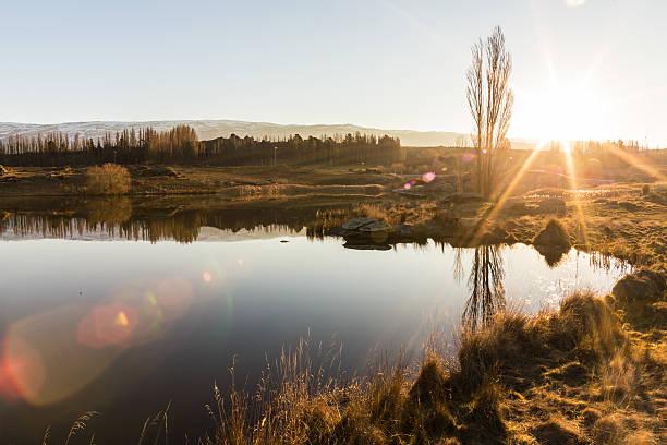 Sunset at Butchers Dam stock photo