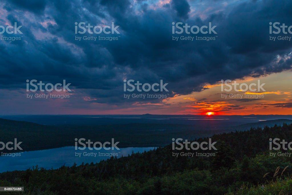 Sunset at Cadillac Mountain Acadia National Park stock photo