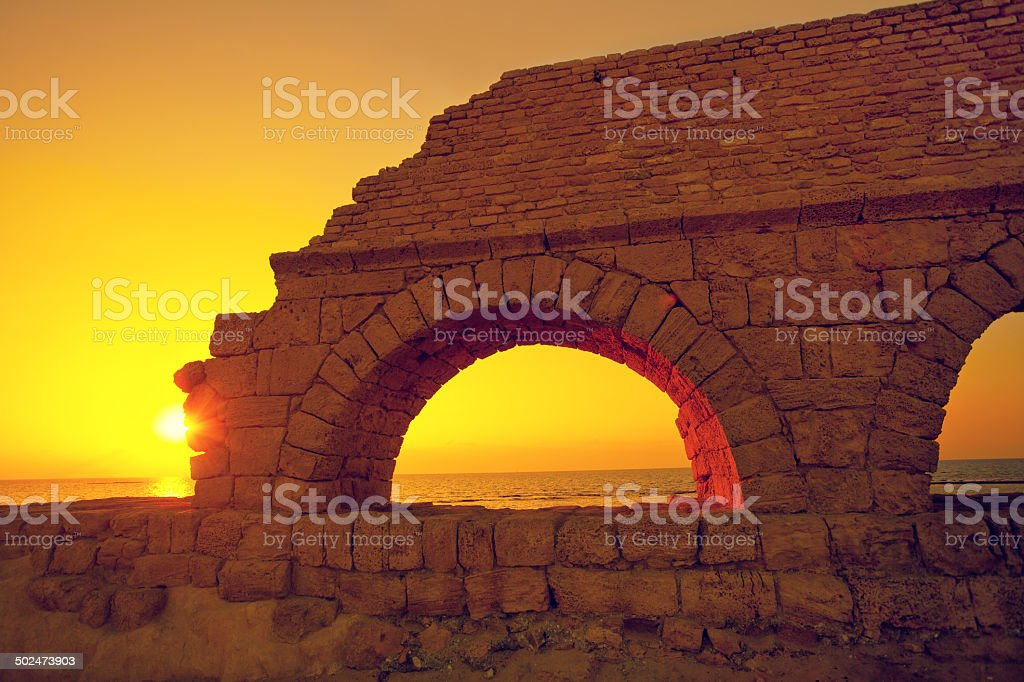 Sunset at Caesarea stock photo