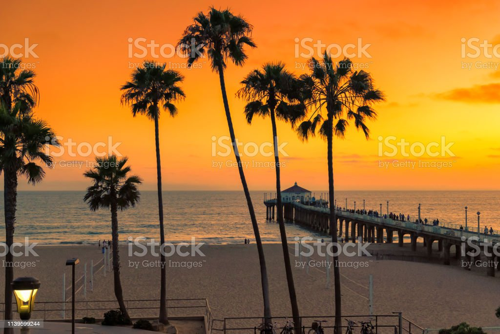 Sunset At California Beach Los Angeles Usa Stock Photo Download