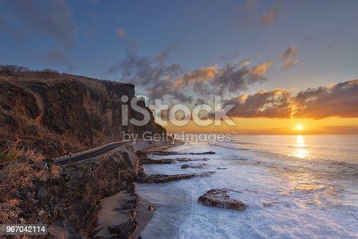 Colorful sunset at Cap La Houssaye in Saint-Paul, Reunion Island