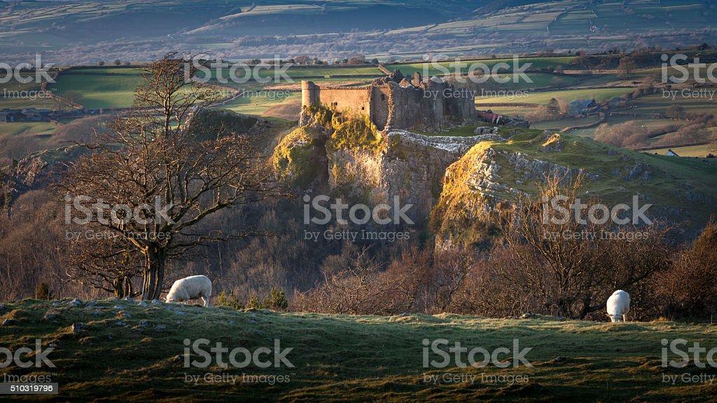 Sunset at Carreg Cennen Castle stock photo