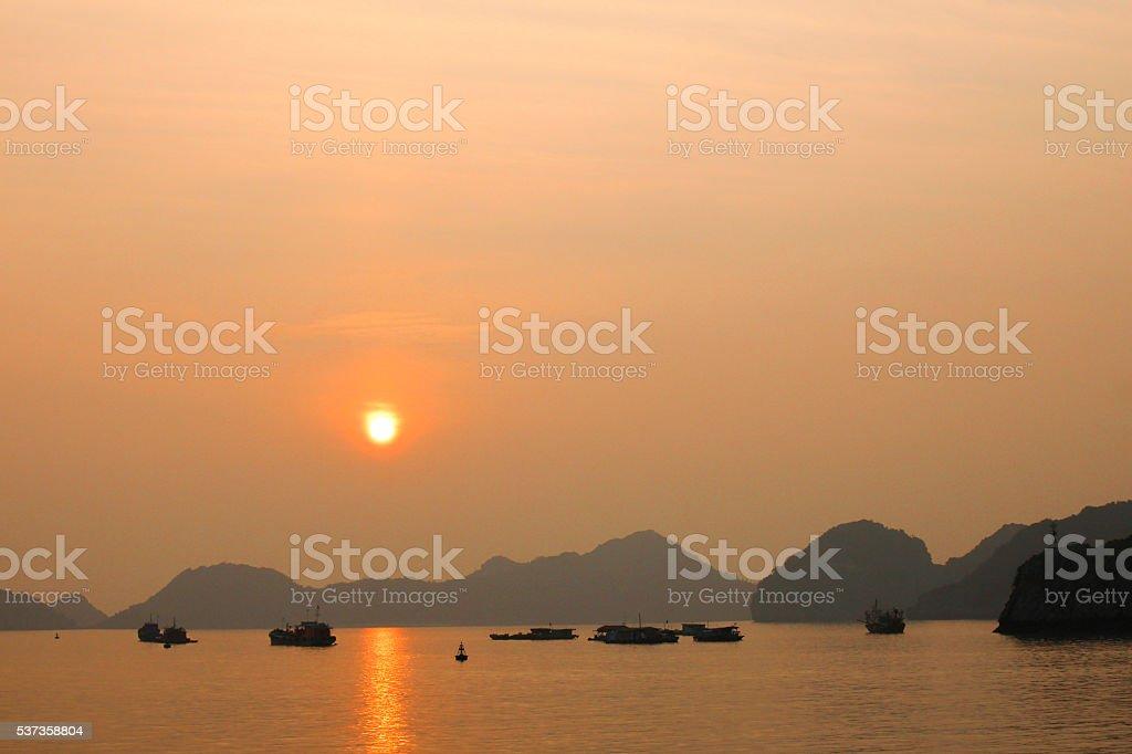 Sunset at Cat Ba Island stock photo
