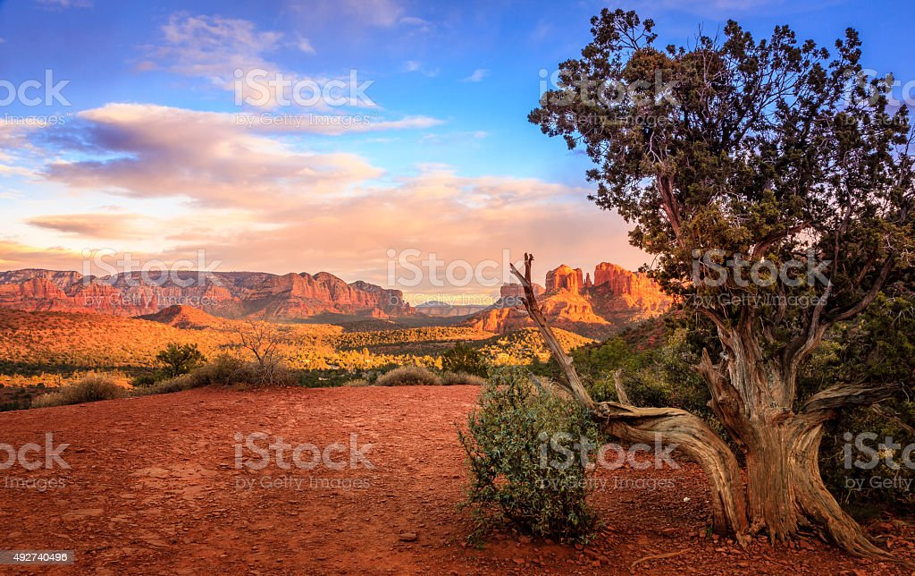 Sunset at Cathedral Rock stock photo