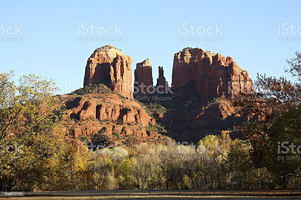 Sunset at Cathedral Rock, Red Rock Crossing, Arizona stock photo