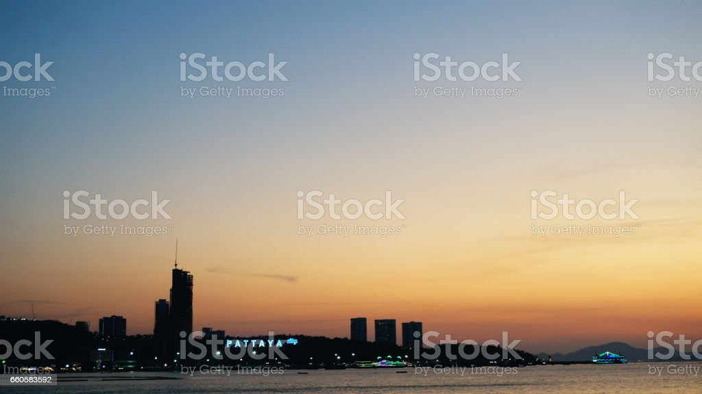 Sunset at Central Pattaya Beach royalty-free stock photo