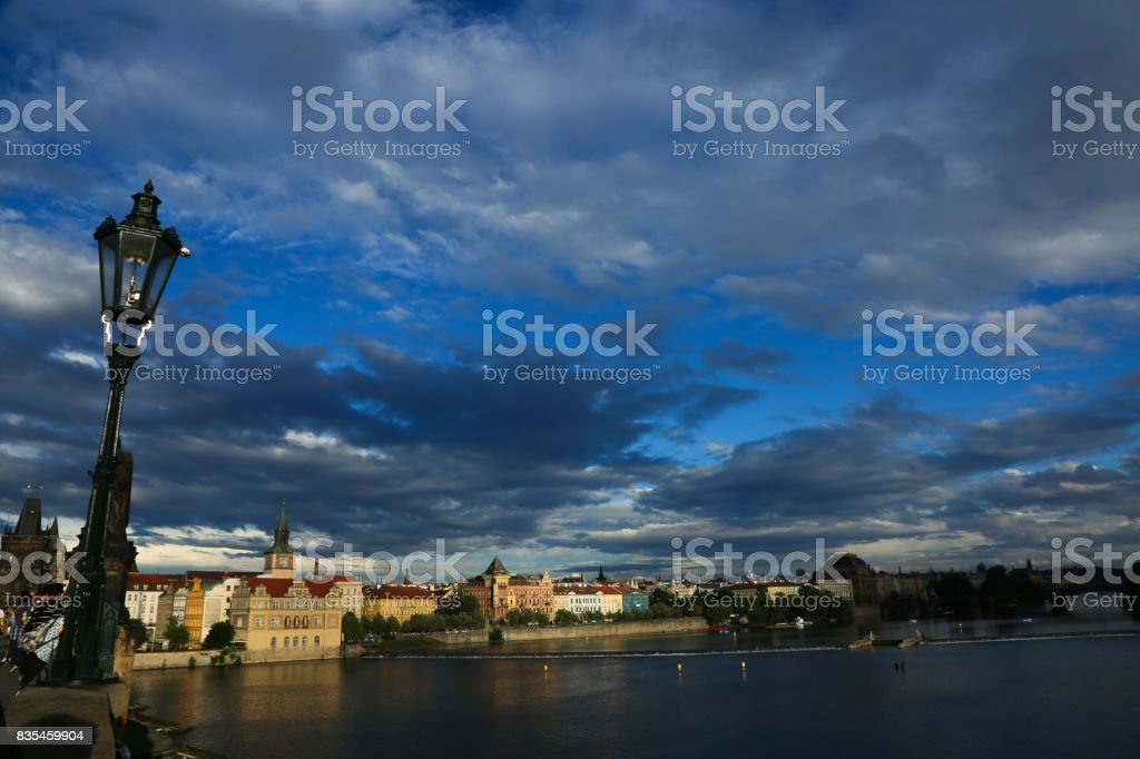 Sunset at Charles Bridge - Prague stock photo