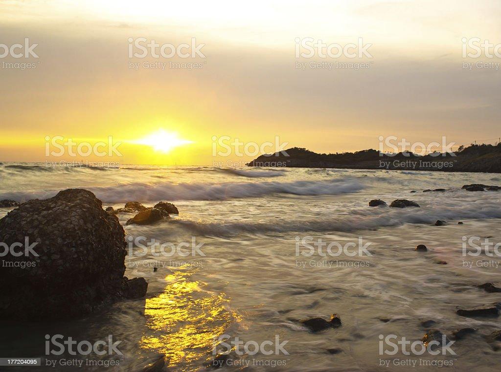 sunset at chea chang island chonburi thailand. royalty-free stock photo