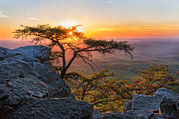 sunset at cheaha overlook 1 - alabama 뉴스 사진 이미지