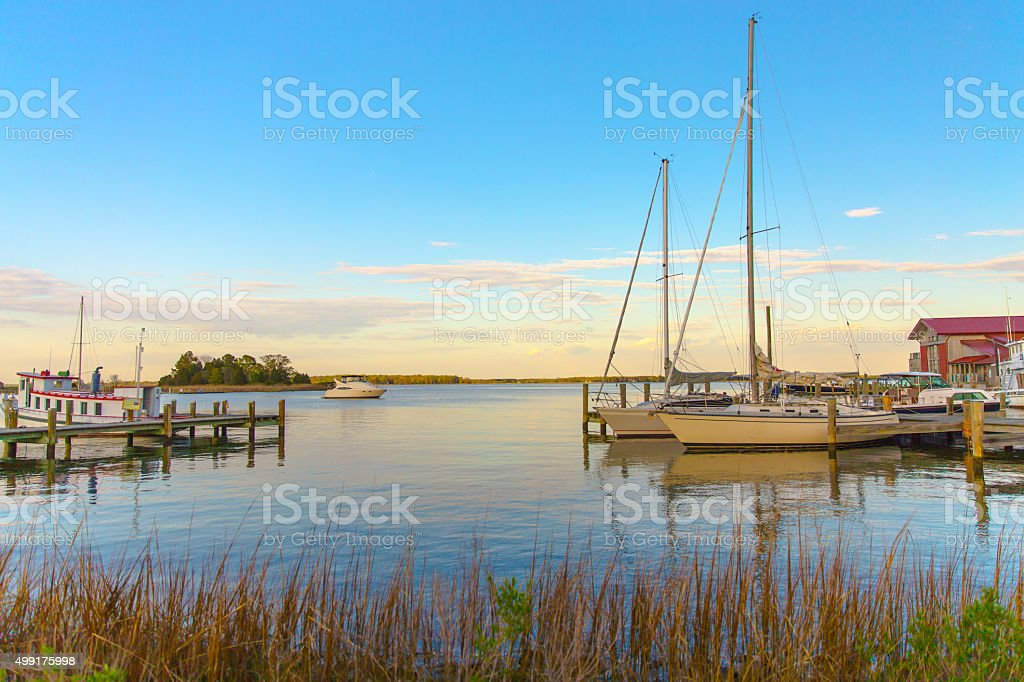 Sunset at Chesapeake Martime Museum in St Michaels Maryland stock photo