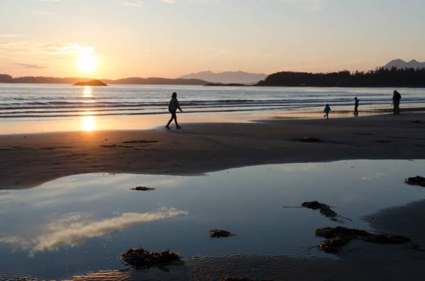Sunset at Chesterman beach in Tofino, British Columbia stock photo