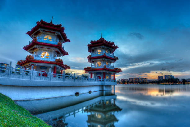 Sunset at Chinese Gardens, a free public park in Jurong, Singapore stock photo