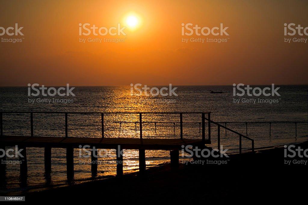 Sunset at coast of Turkey stock photo