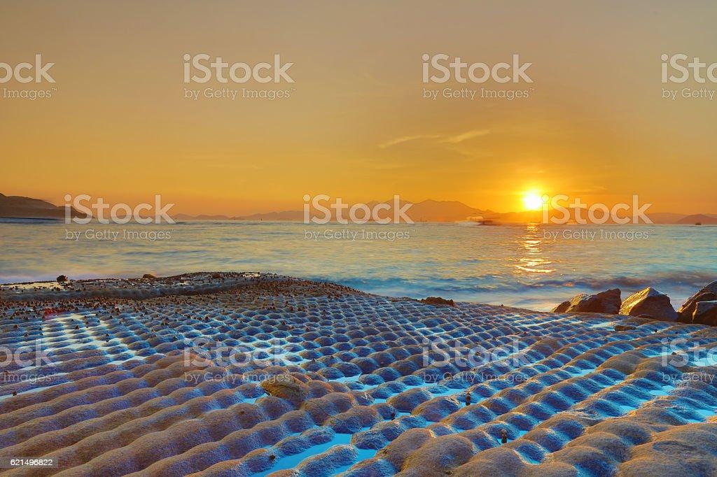 sunset at coast of wah fu foto stock royalty-free