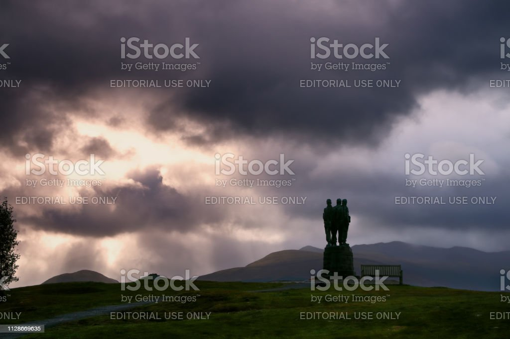 Sunset at Commando Memorial, Scotland stock photo