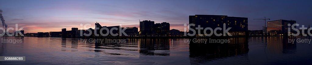 Sunset at Copenhagen harbor stock photo