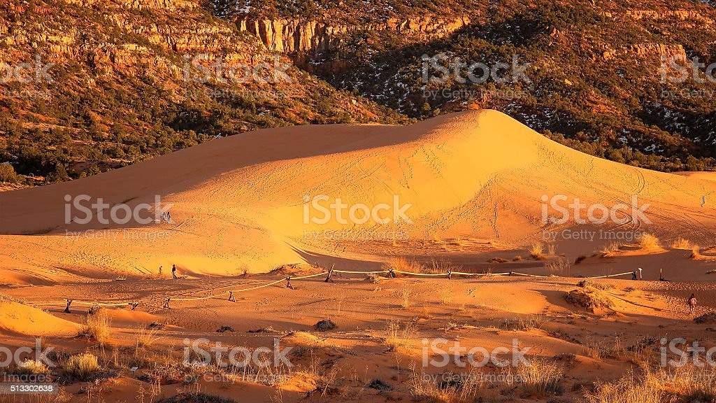 Sunset at Coral Pink Sand Dunes State Park in Utah stock photo