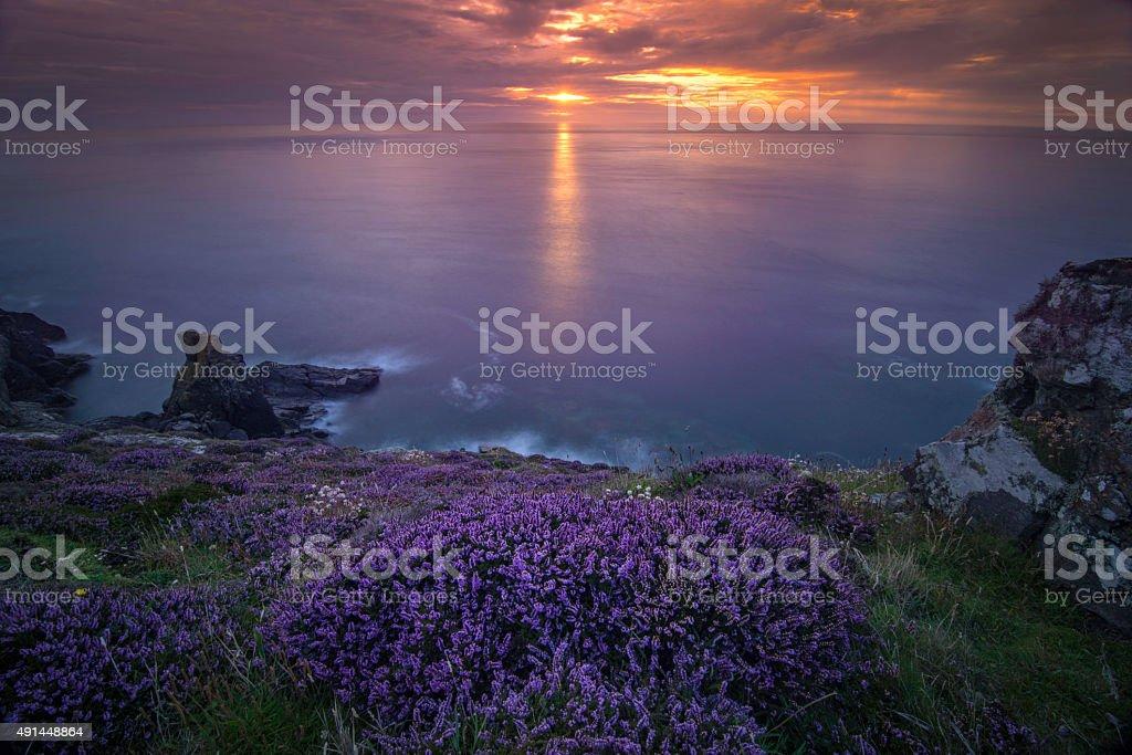 Sunset at Cornwall, England stock photo