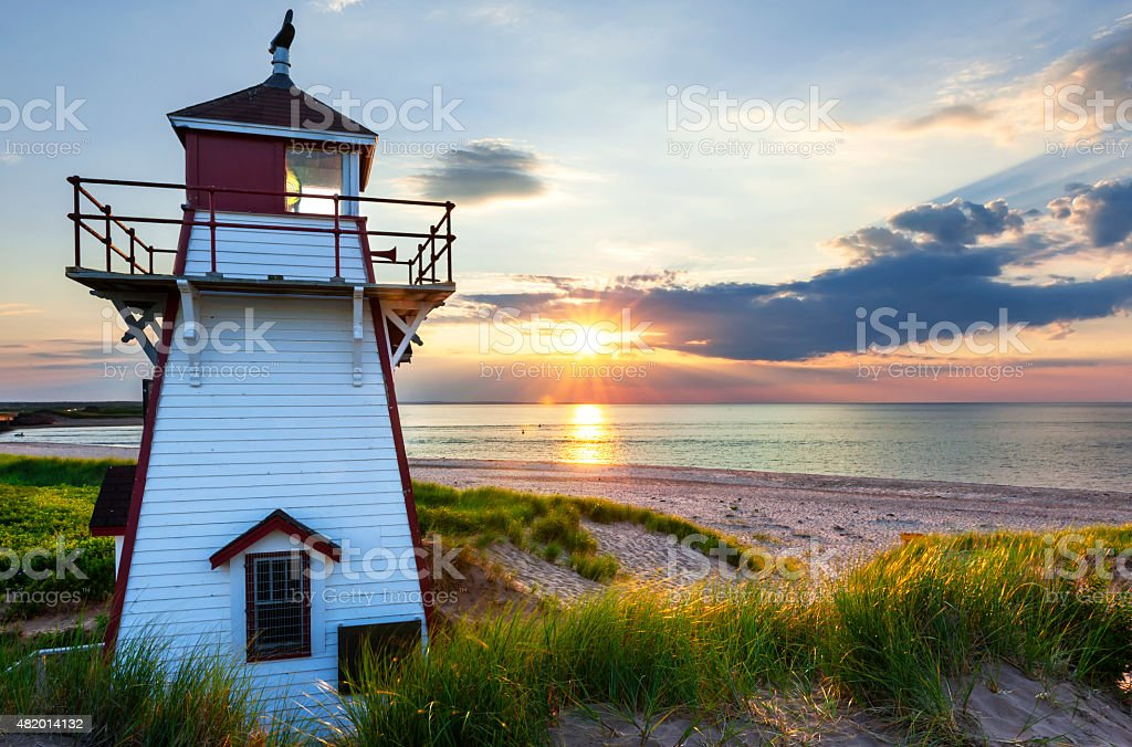 Sunset at Covehead Harbour Lighthouse, PEI stock photo