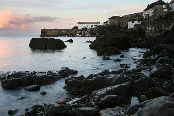Sunset at Coverack Harbour stock photo