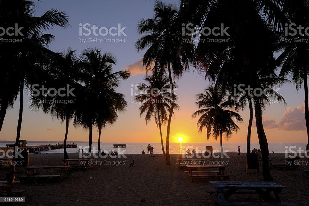 Sunset at Crash Boat Beach stock photo