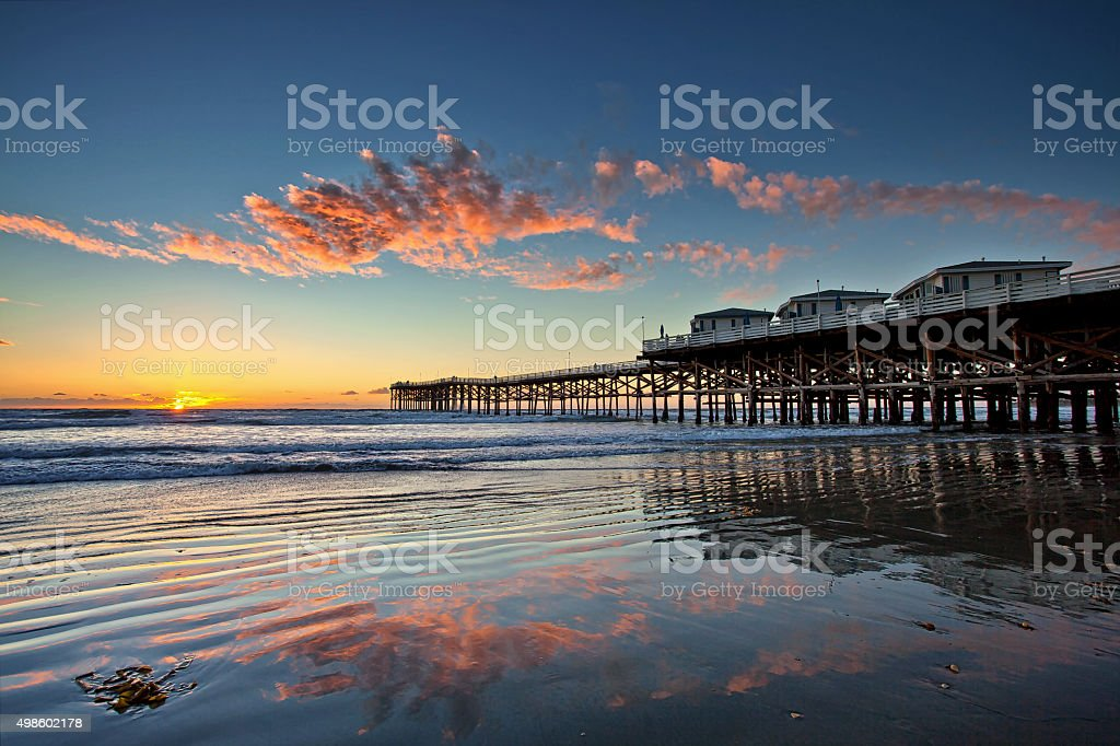 Sunset at Crystal Pier in Pacific Beach, San Diego, California. stock photo