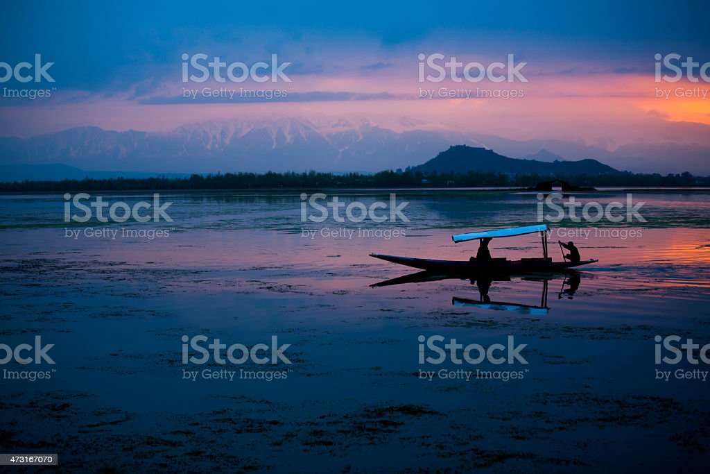 Sunset at Dal Lake, Kashmir, India stock photo