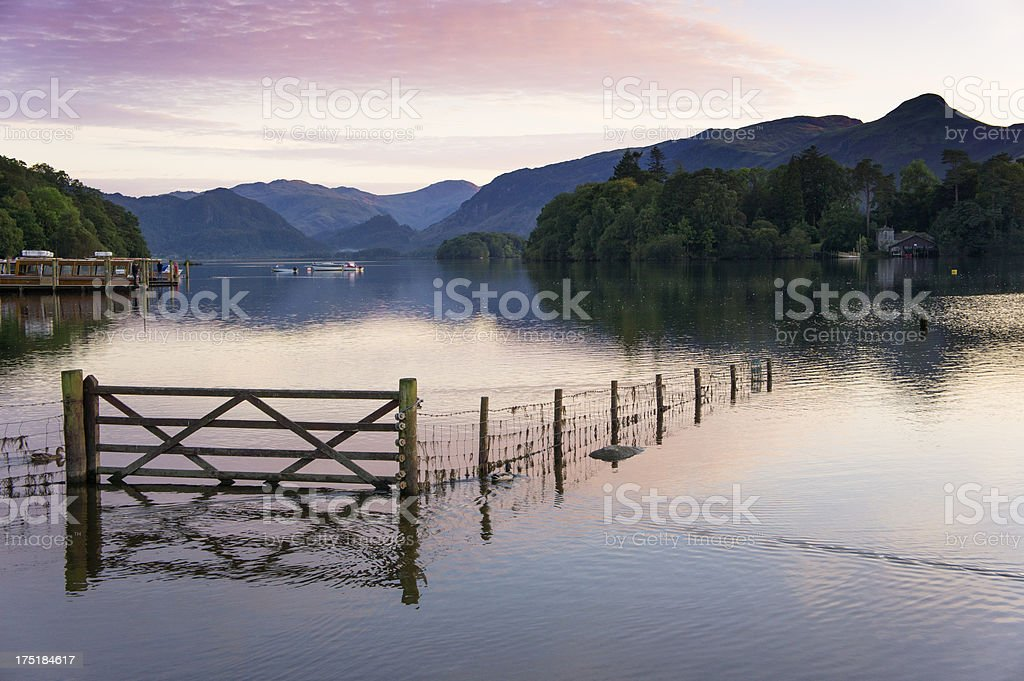 Sunset at Derwent Water in the English Lake District. royalty-free stock photo
