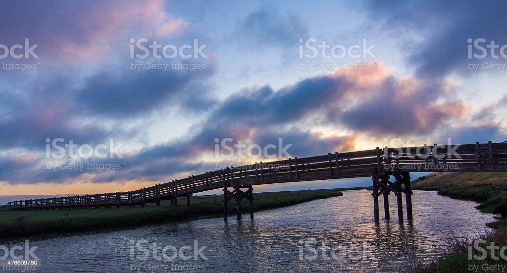 Sunset at Don Edwards San Francisco Bay National Wildlife Refuge stock photo