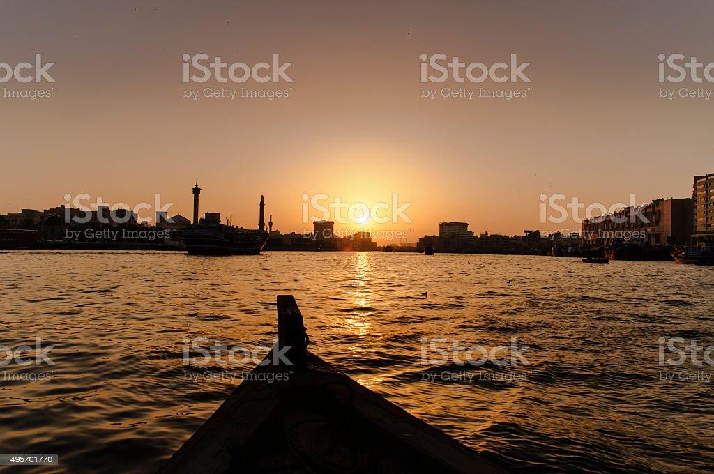 Sunset at Dubai Creek stock photo