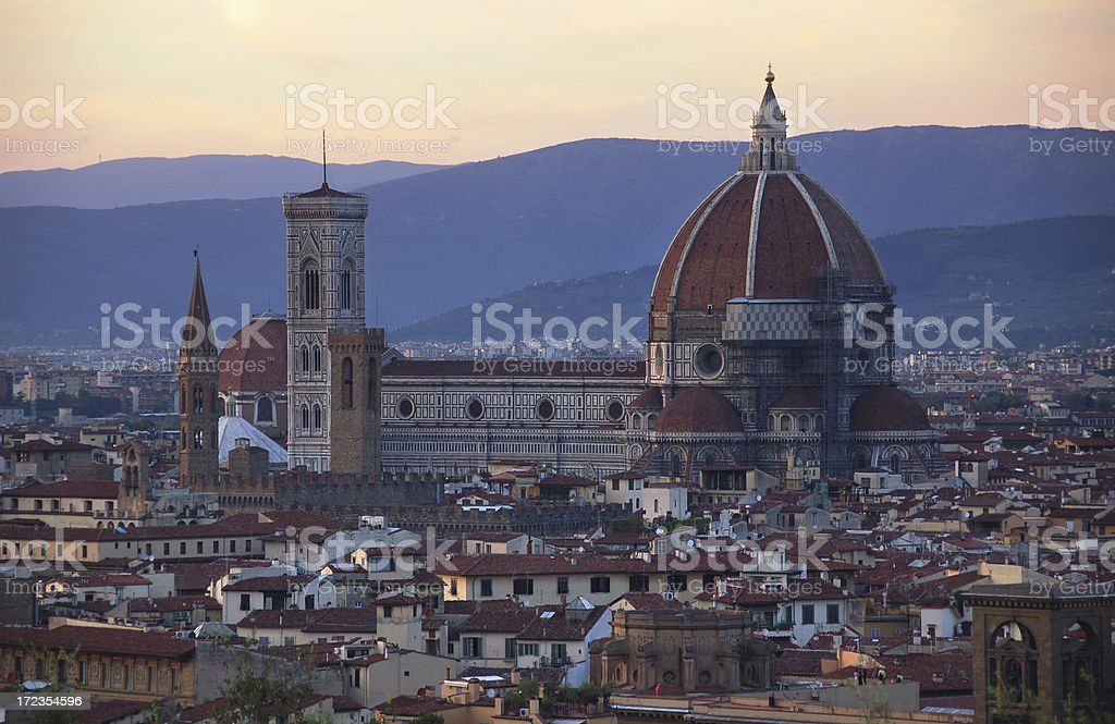 Sunset at Duomo Santa Maria Del Fiore in Florence, Italy royalty-free stock photo