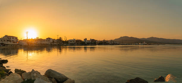 Sunset at Elafonisos in Greece. A famous touristic destination. stock photo