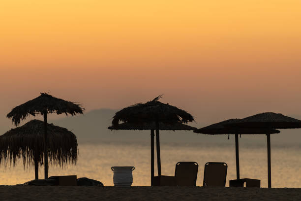 Sunset at Elafonisos island in Greece. Famous Simos beach. stock photo