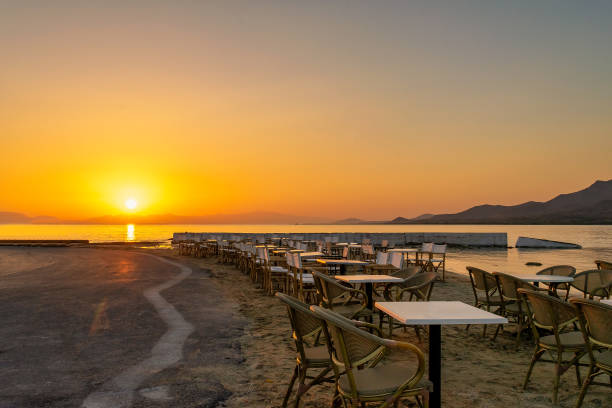 Sunset at Elafonisos island in Greece. stock photo