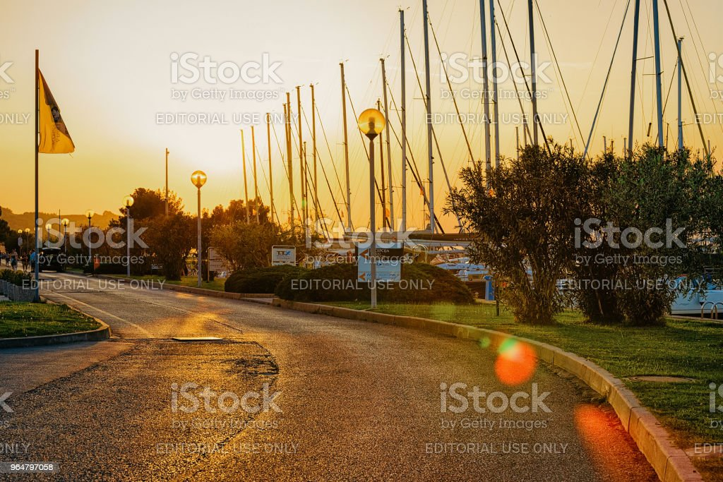 Sunset at embankment marina Izola Adriatic Slovenia royalty-free stock photo
