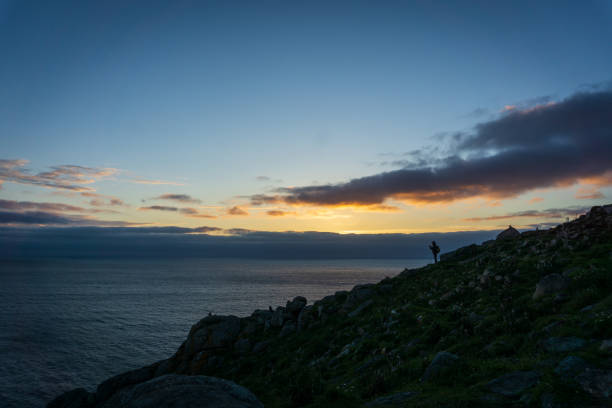 Sunset at Finisterre, landscape in Galicia, Spain, on a day in spring stock photo