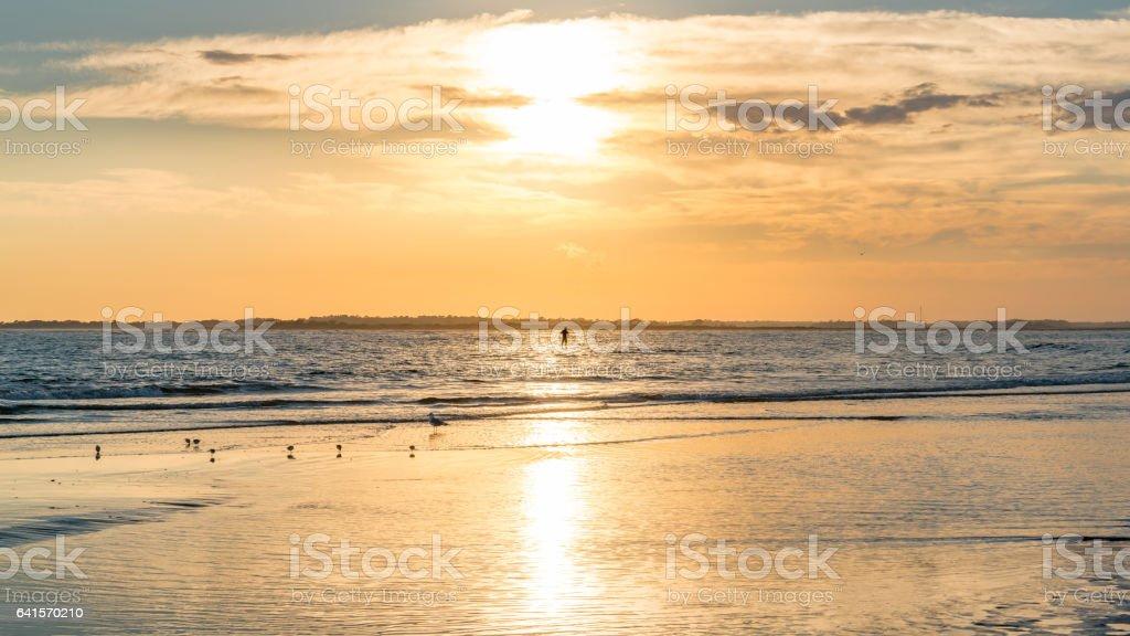 Sunset at Folly Beach stock photo