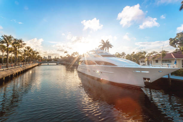 Sunset at Fort Lauderdale canals. Luxury yachts in Las Olas Boulevard, Florida, USA stock photo