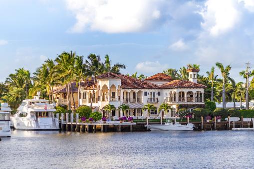 Sunset at Fort Lauderdale Marina. Luxury yachts in Las Olas Boulevard, Florida, USA