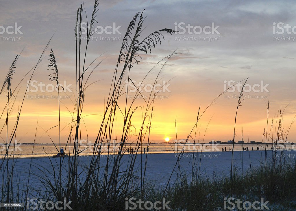 Sunset at Fort Myers Beach Florida stock photo