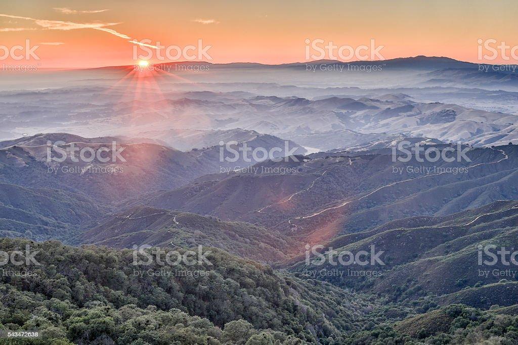 Sunset at Fremont Peak State park stock photo