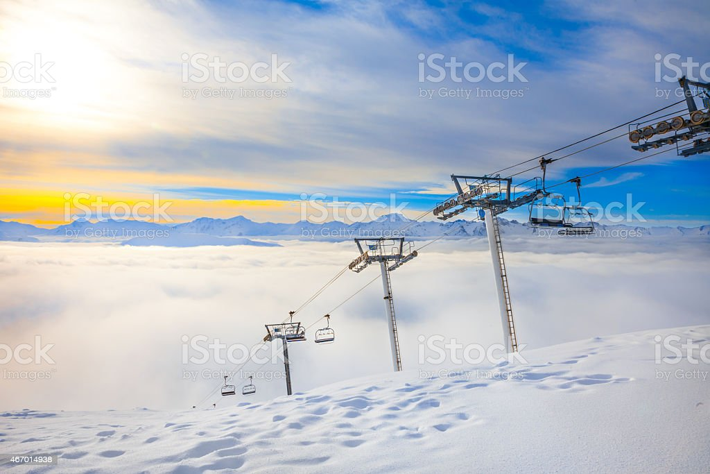 Sunset at French Alps stock photo