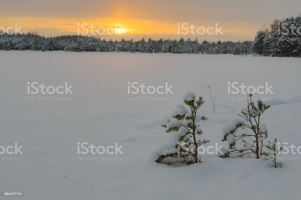 Sunset at frozen lake stock photo
