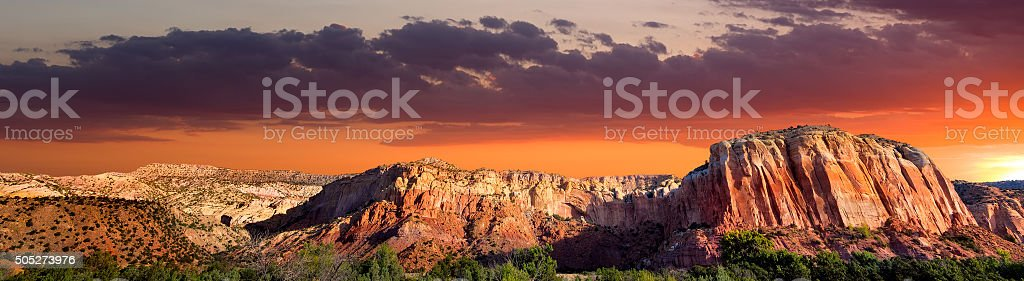 Sunset at Ghost Ranch stock photo