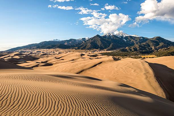 Sunset at Great Sand Dunes stock photo